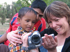 Kira Kay with a Nepali child