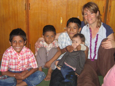 Kira Kay with Nepali children